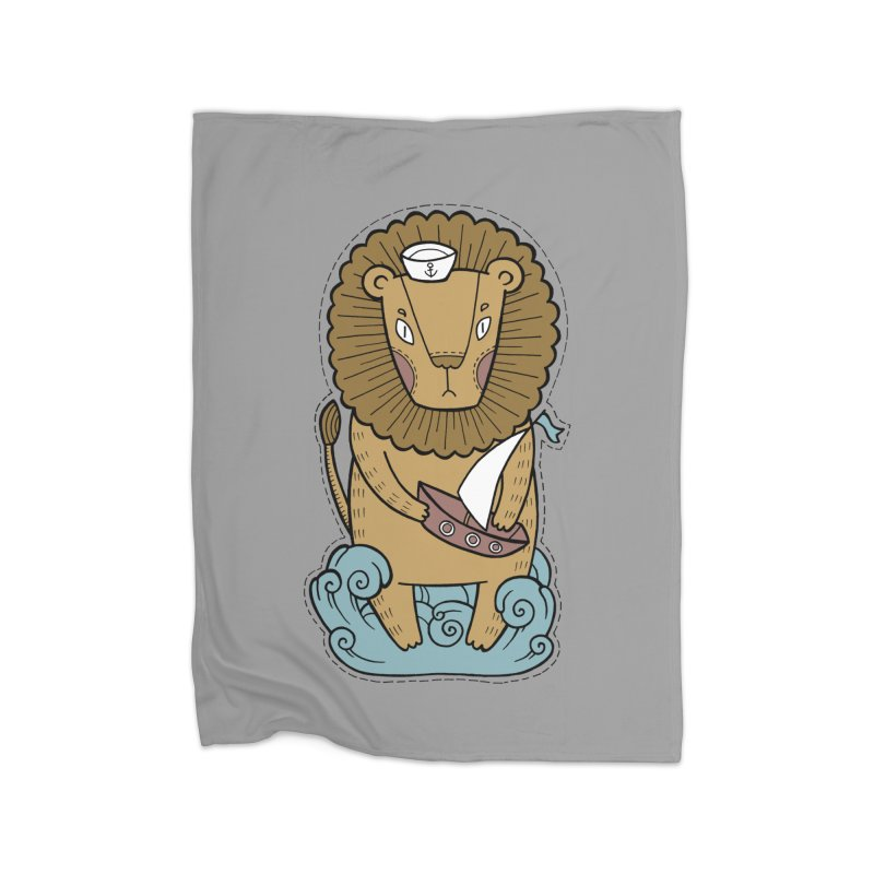 Sailor Lion Home Fleece Blanket Blanket by Crazy Pangolin's Artist Shop