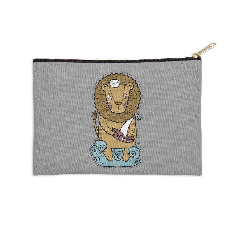 Sailor Lion Accessories Zip Pouch by Crazy Pangolin's Artist Shop