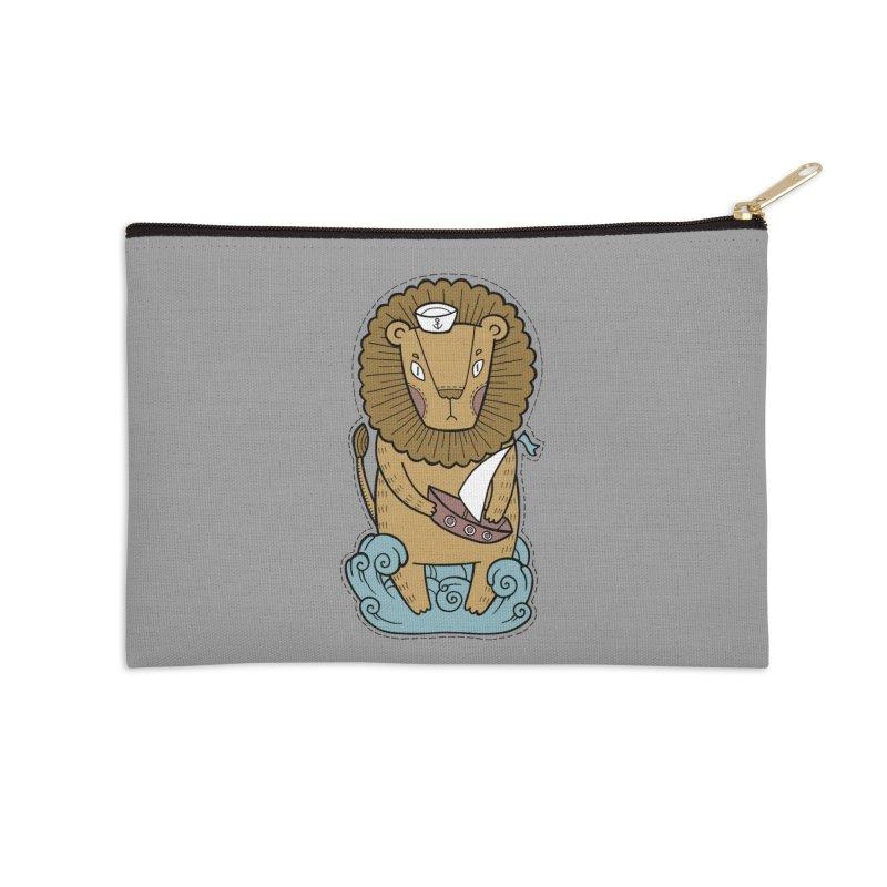Sailor Lion Accessories Zip Pouch by Crazy Pangolin's Artist Shop