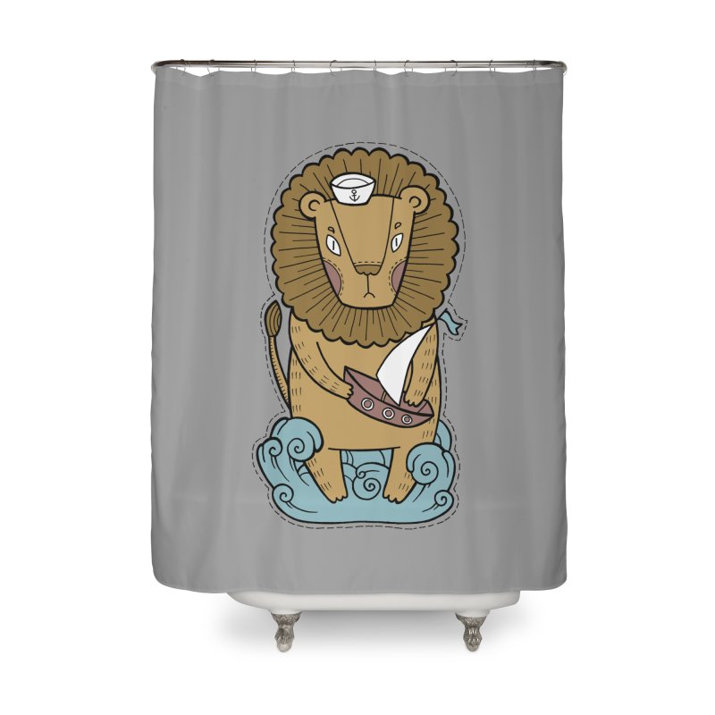Sailor Lion Home Shower Curtain by Crazy Pangolin's Artist Shop