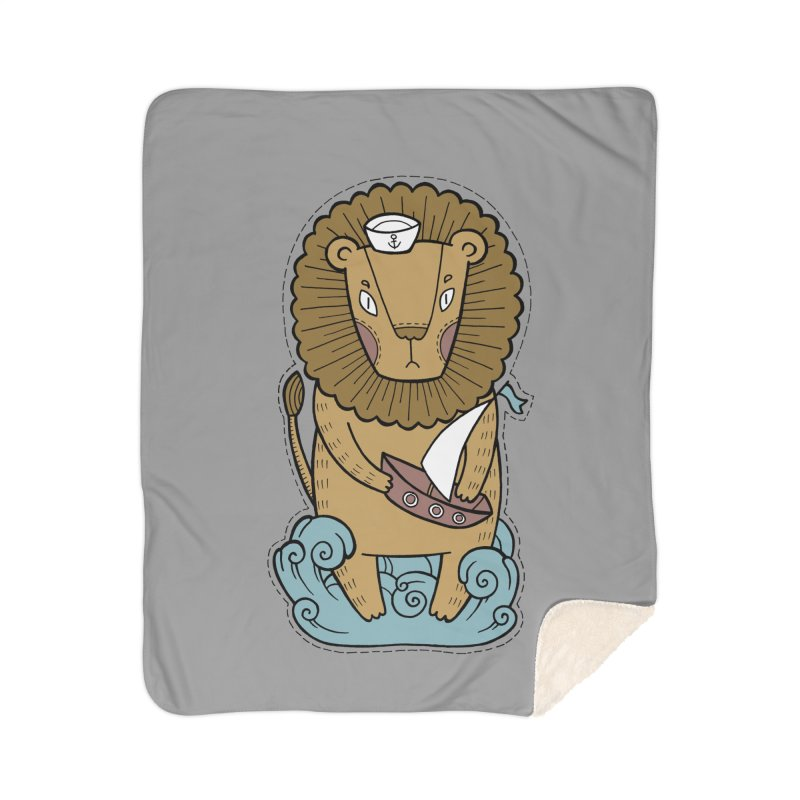 Sailor Lion Home Sherpa Blanket Blanket by Crazy Pangolin's Artist Shop