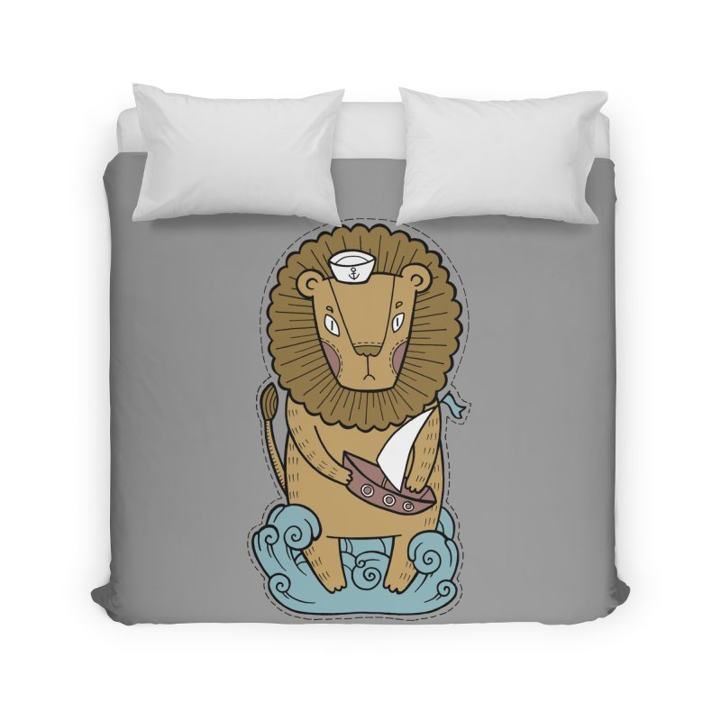 Sailor Lion Home Duvet by Crazy Pangolin's Artist Shop