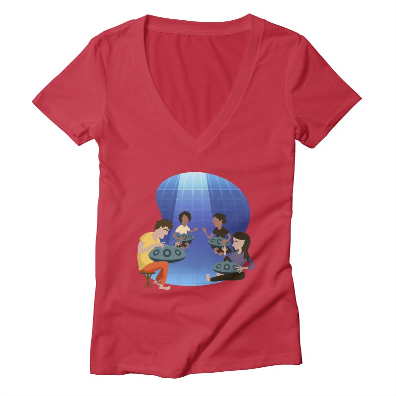 Halo Family Illustration Women's Deep V-Neck V-Neck by Pantheon Steel Fan-Art Store