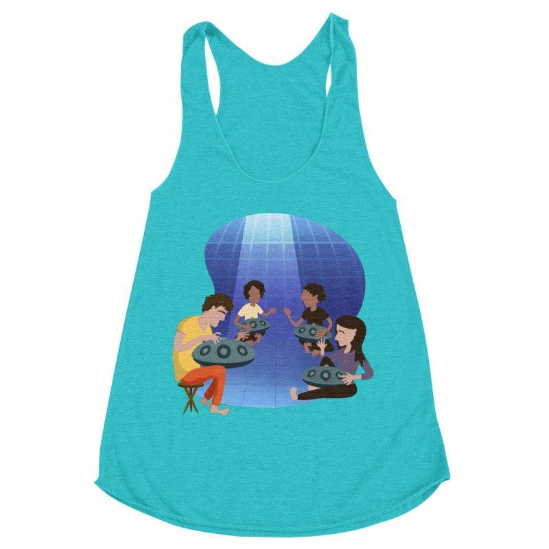 Halo Family Illustration Women's Racerback Triblend Tank by Pantheon Steel Fan-Art Store