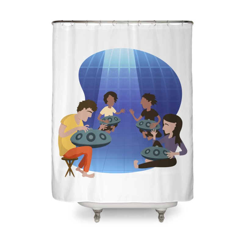 Halo Family Illustration Home Shower Curtain by Pantheon Steel Fan-Art Store