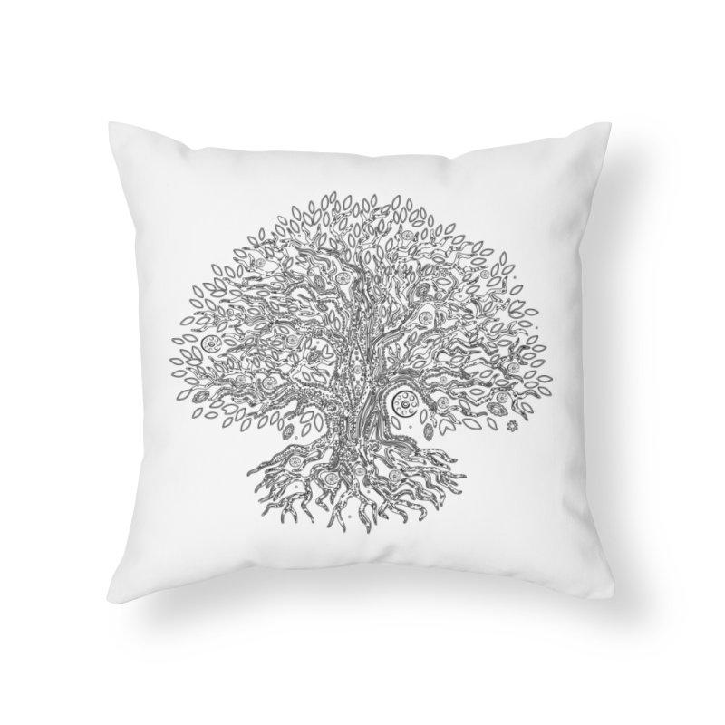 Halo Tree (Black) Home Throw Pillow by Pantheon Steel Fan-Art Store