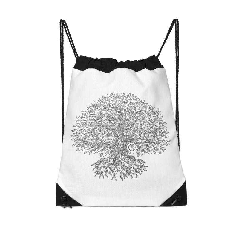 Halo Tree (Black) Accessories Drawstring Bag Bag by Pantheon Steel Fan-Art Store