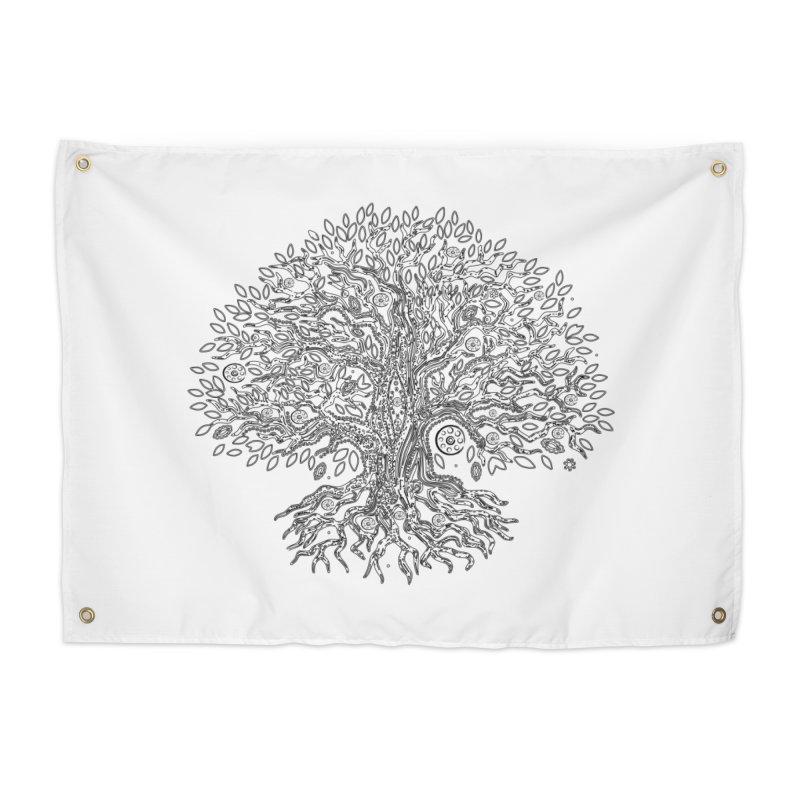 Halo Tree (Black) Home Tapestry by Pantheon Steel Fan-Art Store