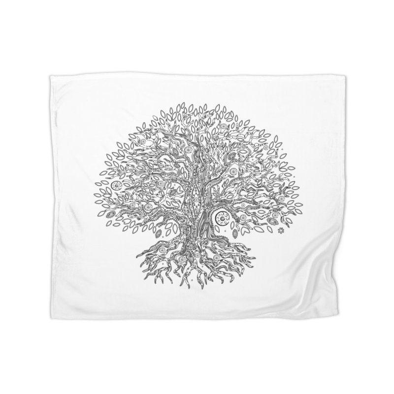 Halo Tree (Black) Home Fleece Blanket Blanket by Pantheon Steel Fan-Art Store