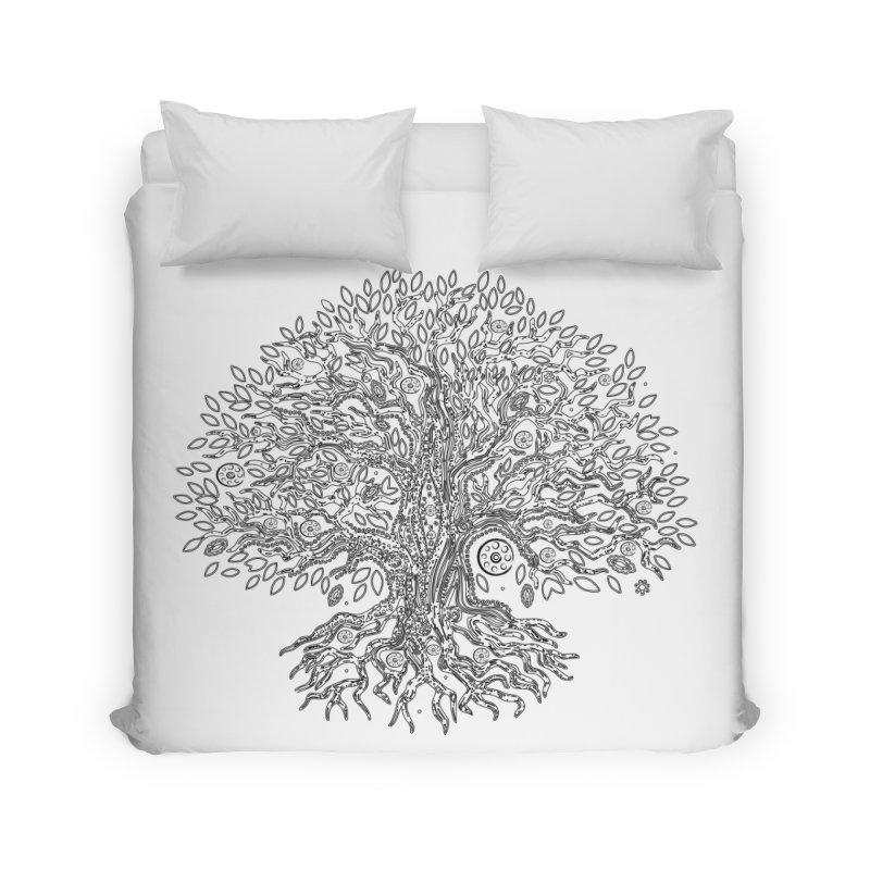 Halo Tree (Black) Home Duvet by Pantheon Steel Fan-Art Store