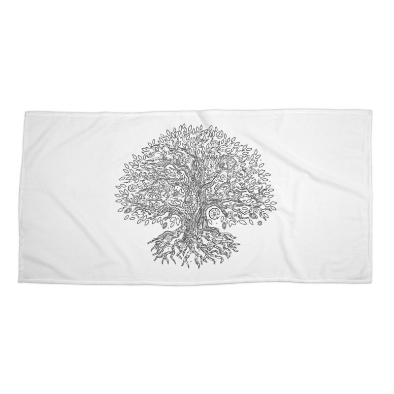 Halo Tree (Black) Accessories Beach Towel by Pantheon Steel Fan-Art Store