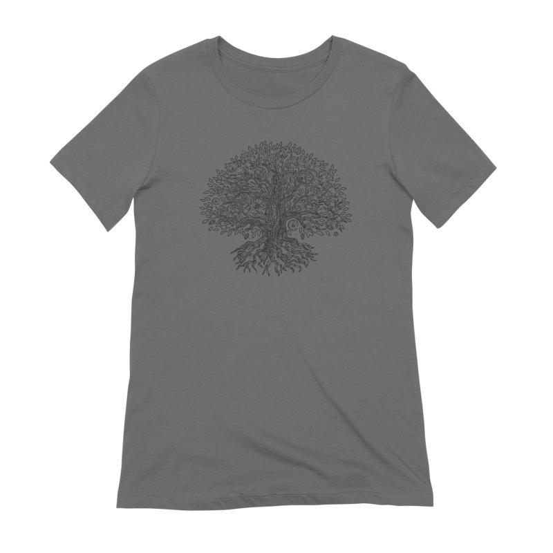 Halo Tree (Black) Women's T-Shirt by Pantheon Steel Fan-Art Store