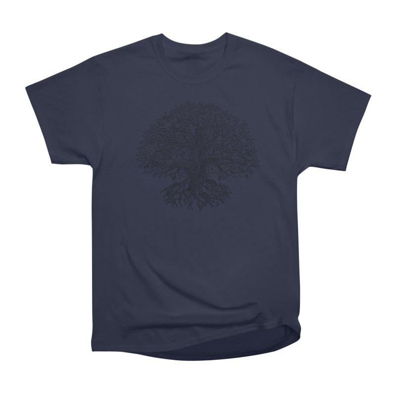 Halo Tree (Black) Men's Heavyweight T-Shirt by Pantheon Steel Fan-Art Store