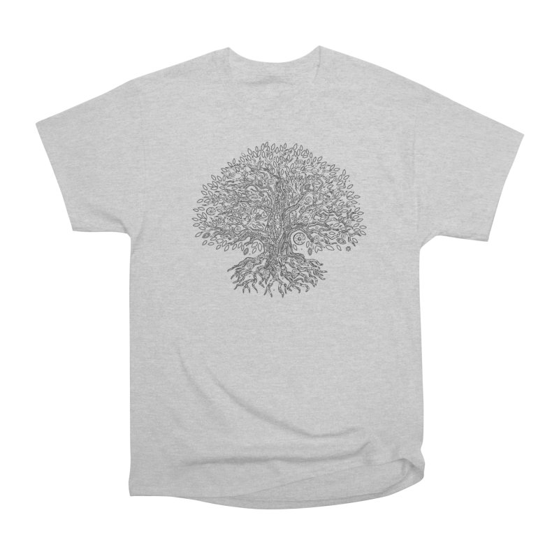 Halo Tree (Black) Women's Heavyweight Unisex T-Shirt by Pantheon Steel Fan-Art Store