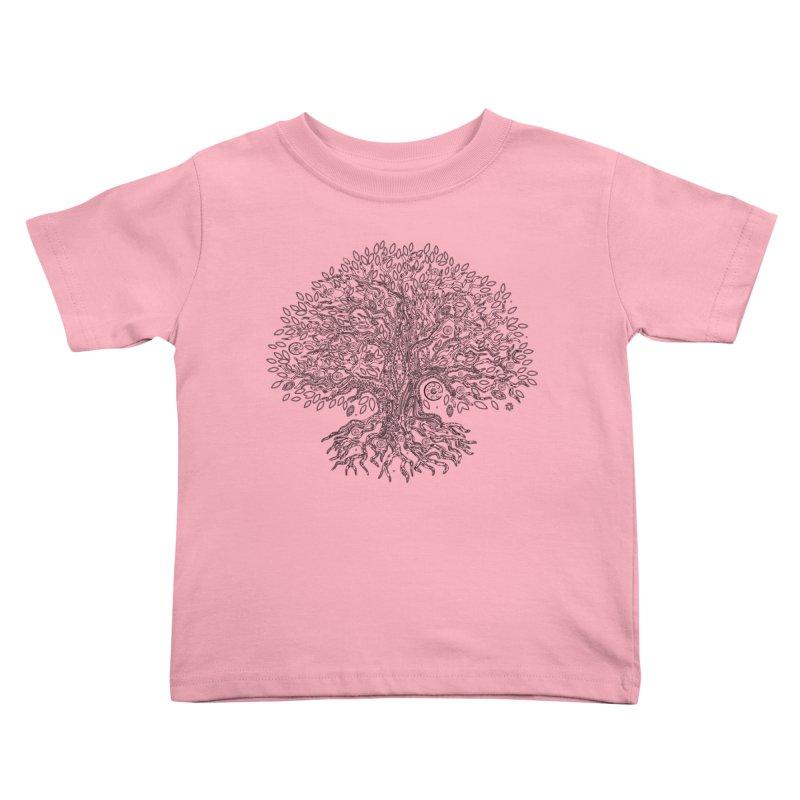 Halo Tree (Black) Kids Toddler T-Shirt by Pantheon Steel Fan-Art Store