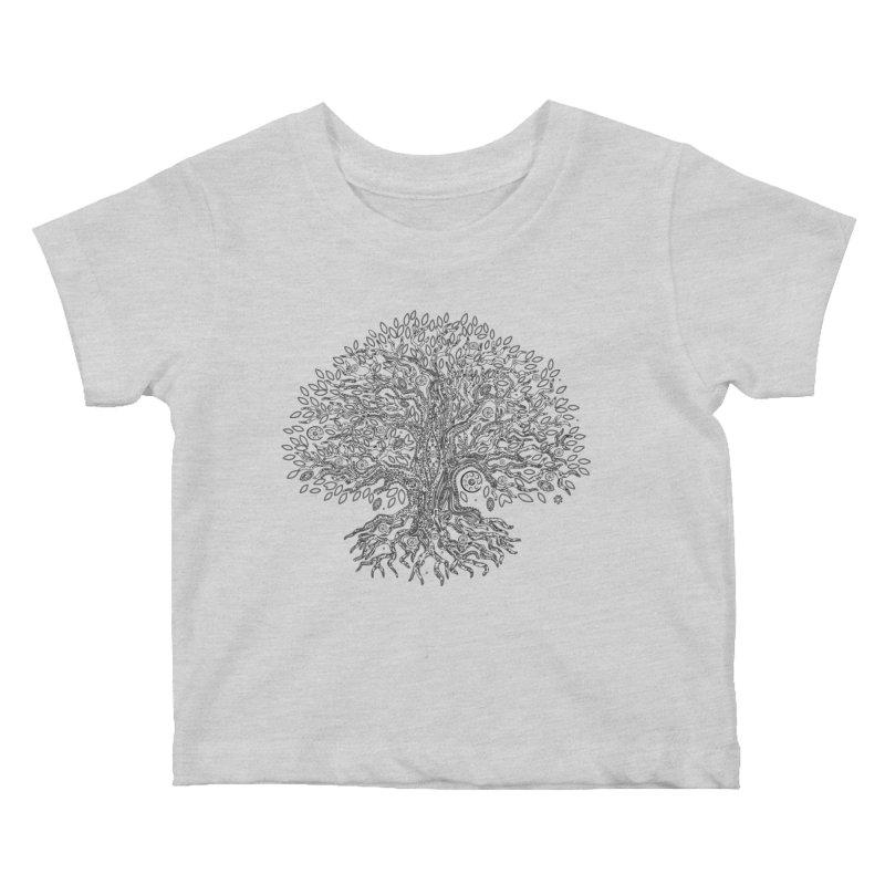 Halo Tree (Black) Kids Baby T-Shirt by Pantheon Steel Fan-Art Store
