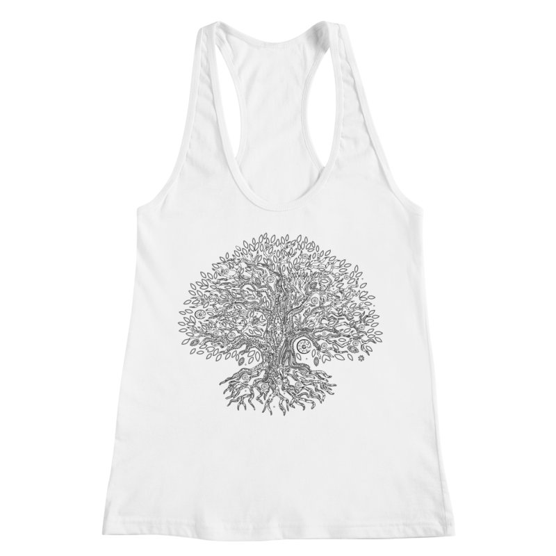 Halo Tree (Black) Women's Racerback Tank by Pantheon Steel Fan-Art Store