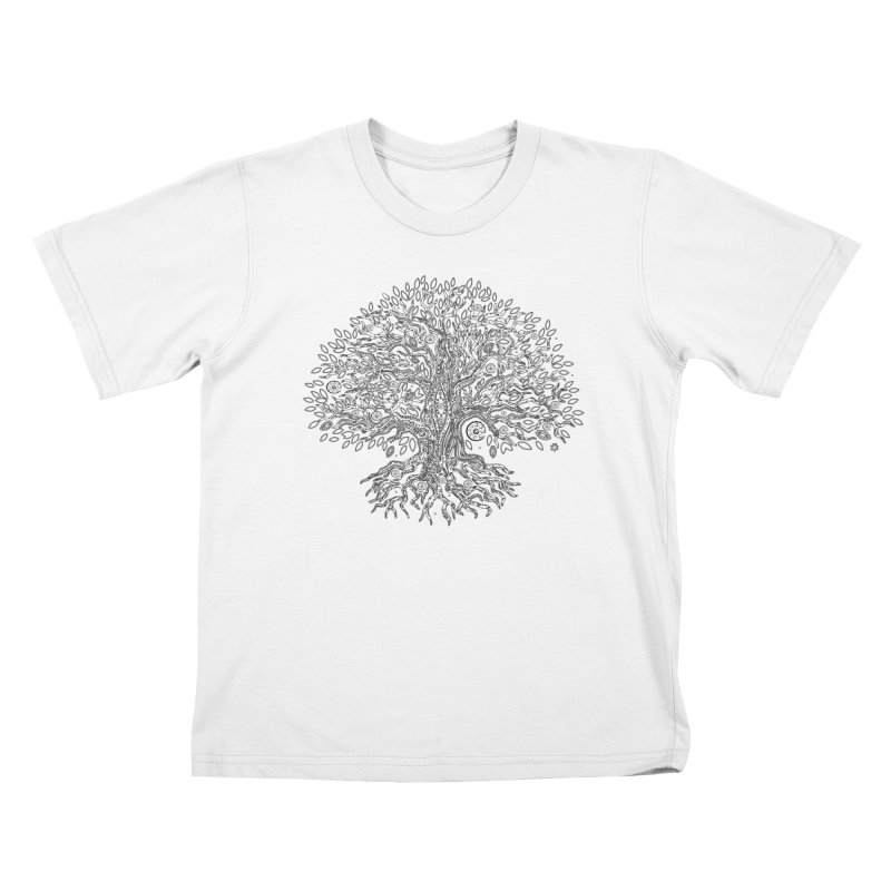 Halo Tree (Black) Kids T-Shirt by Pantheon Steel Fan-Art Store