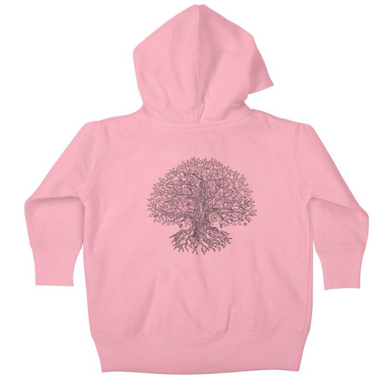 Halo Tree (Black) Kids Baby Zip-Up Hoody by Pantheon Steel Fan-Art Store