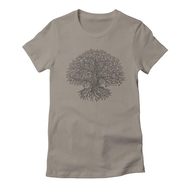 Halo Tree (Black) Women's Fitted T-Shirt by Pantheon Steel Fan-Art Store