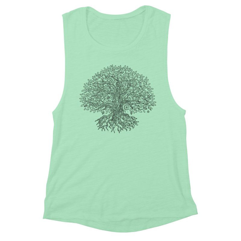Halo Tree (Black) Women's Muscle Tank by Pantheon Steel Fan-Art Store