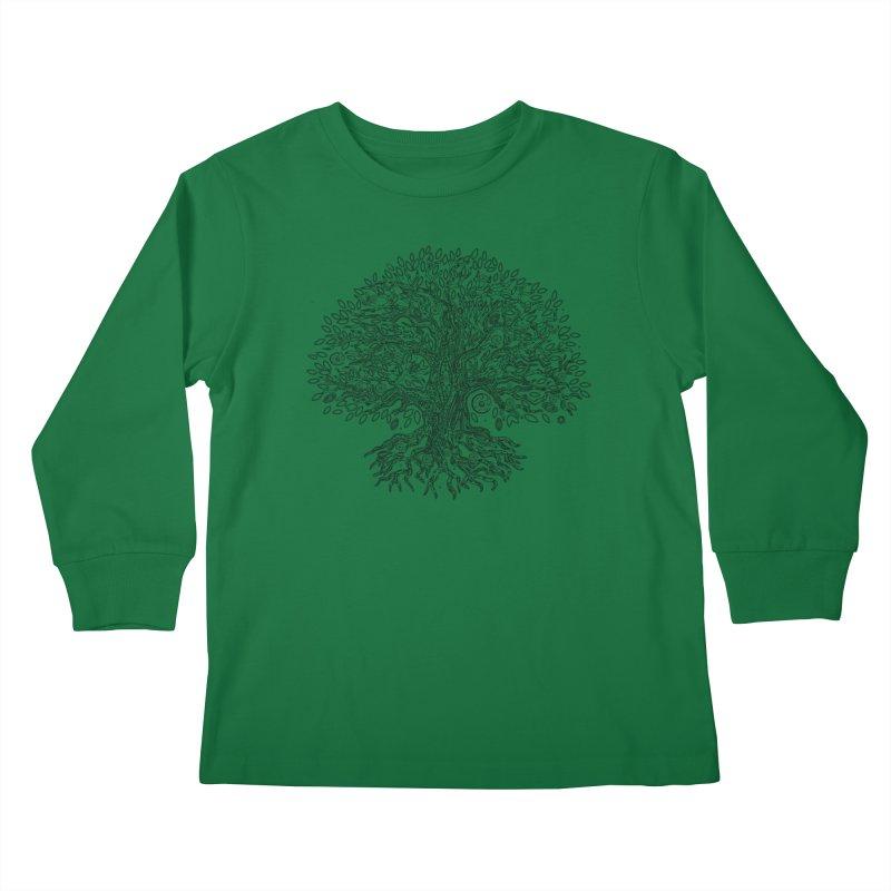 Halo Tree (Black) Kids Longsleeve T-Shirt by Pantheon Steel Fan-Art Store