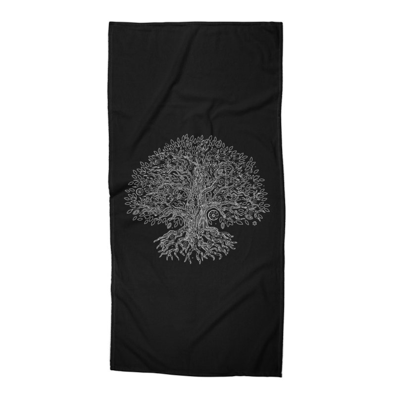 Halo Tree (White) Accessories Beach Towel by Pantheon Steel Fan-Art Store