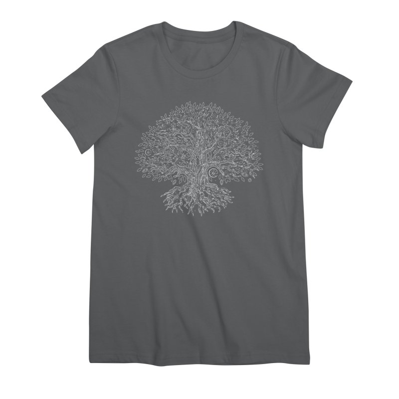 Halo Tree (White) Women's Premium T-Shirt by Pantheon Steel Fan-Art Store