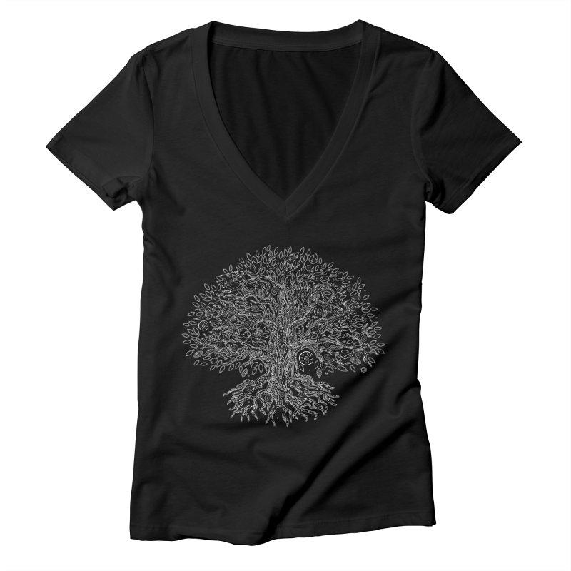Halo Tree (White) Women's V-Neck by Pantheon Steel Fan-Art Store