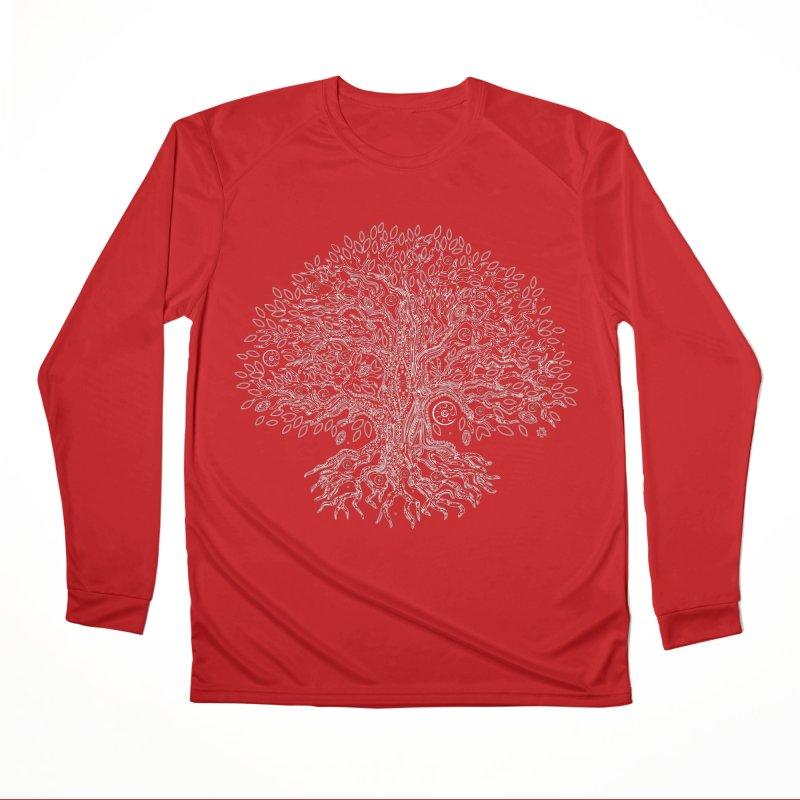 Halo Tree (White) Women's Performance Unisex Longsleeve T-Shirt by Pantheon Steel Fan-Art Store