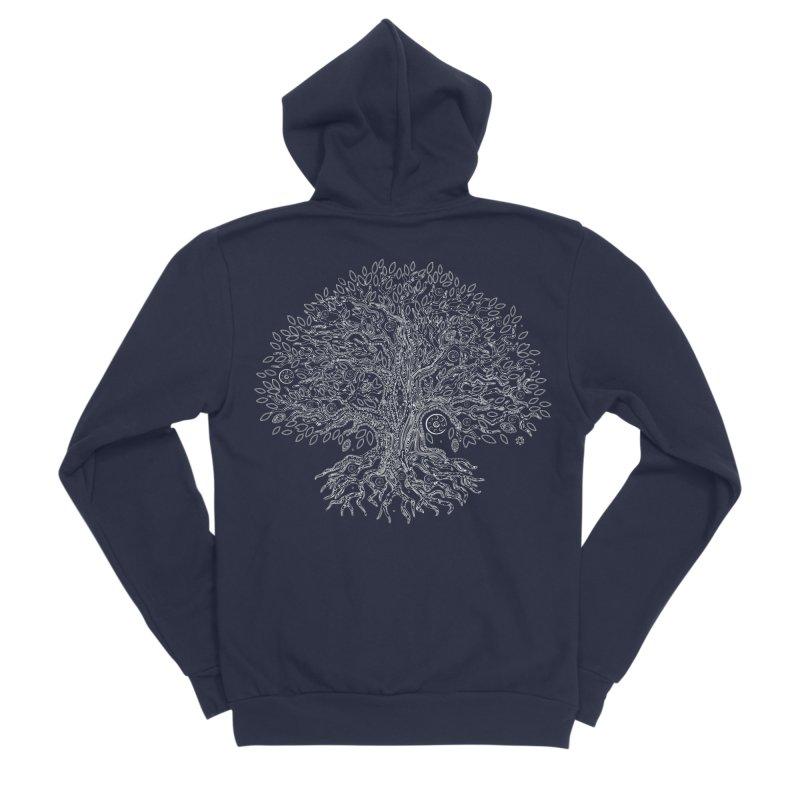 Halo Tree (White) Men's Sponge Fleece Zip-Up Hoody by Pantheon Steel Fan-Art Store