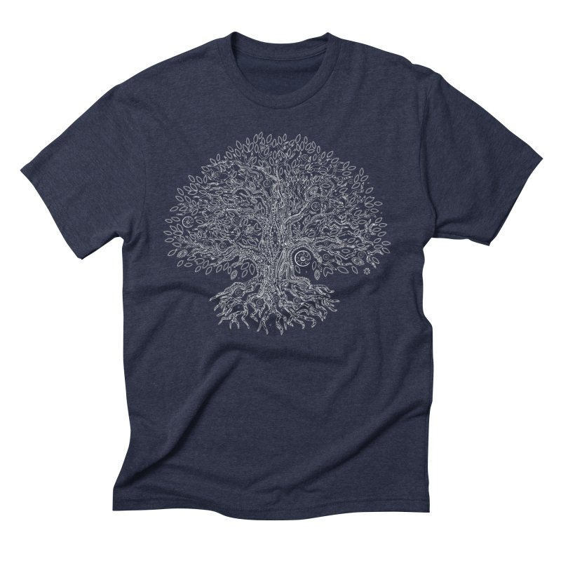 Halo Tree (White) Men's Triblend T-Shirt by Pantheon Steel Fan-Art Store