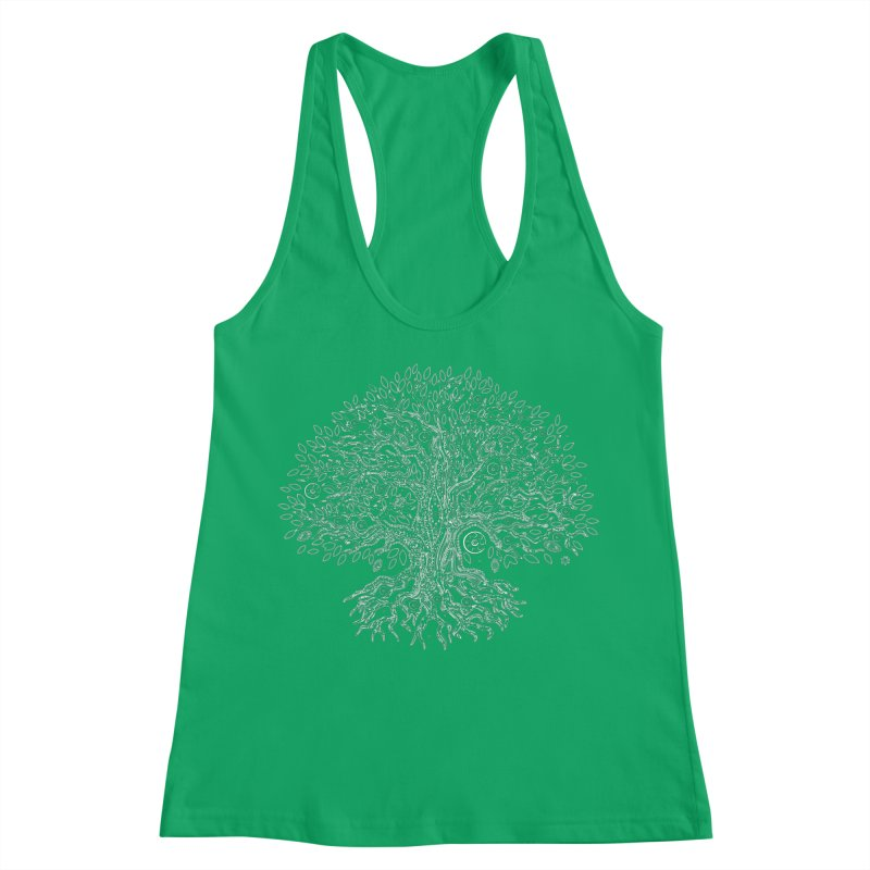 Halo Tree (White) Women's Racerback Tank by Pantheon Steel Fan-Art Store