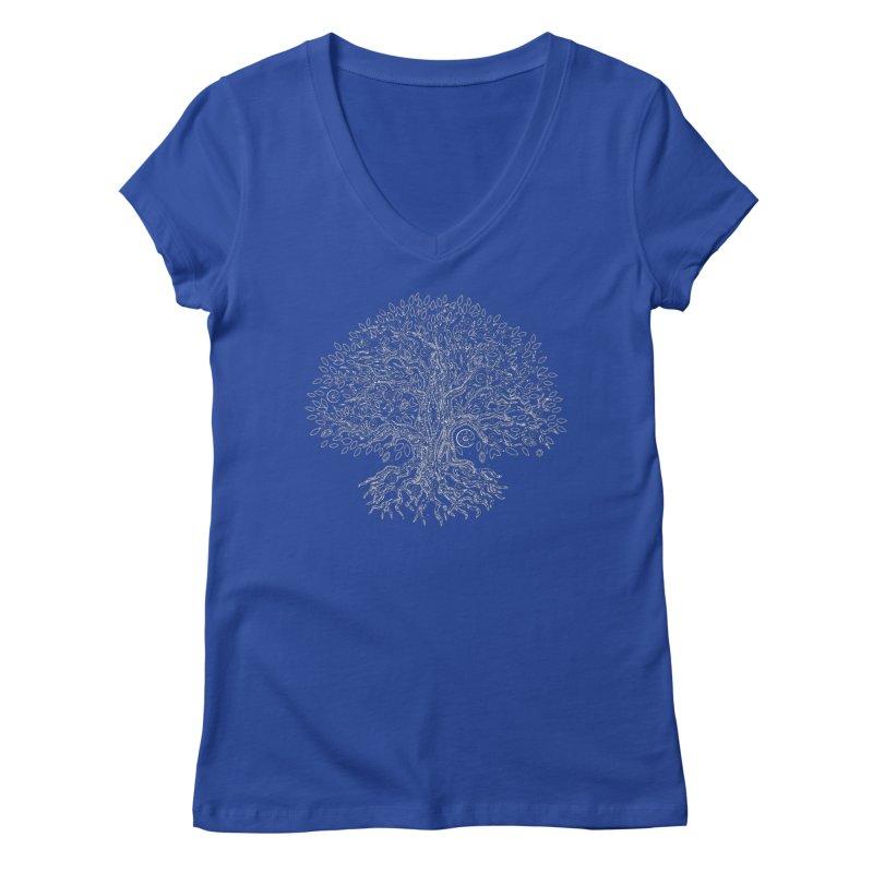 Halo Tree (White) Women's Regular V-Neck by Pantheon Steel Fan-Art Store