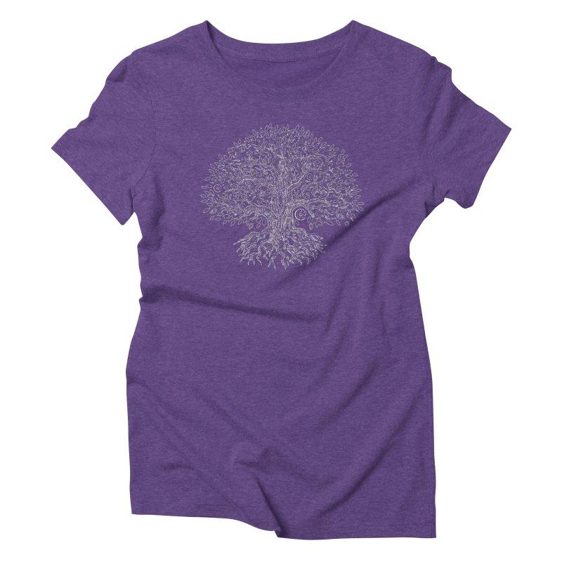 Halo Tree (White) Women's Triblend T-Shirt by Pantheon Steel Fan-Art Store