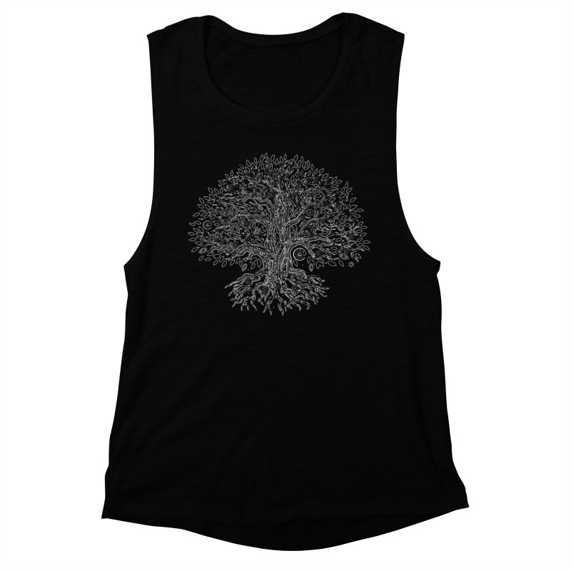 Halo Tree (White) Women's Muscle Tank by Pantheon Steel Fan-Art Store