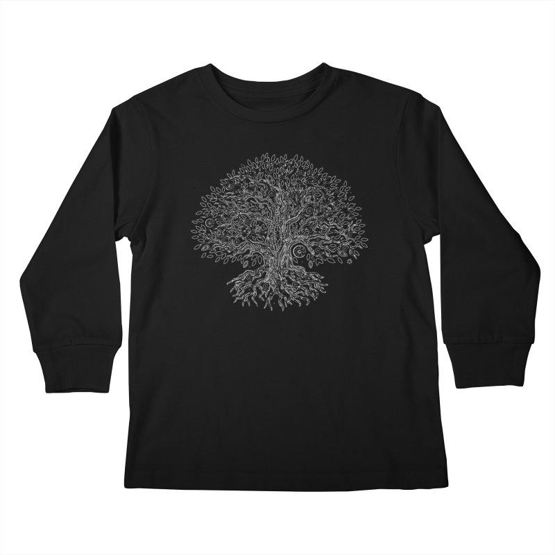 Halo Tree (White) Kids Longsleeve T-Shirt by Pantheon Steel Fan-Art Store