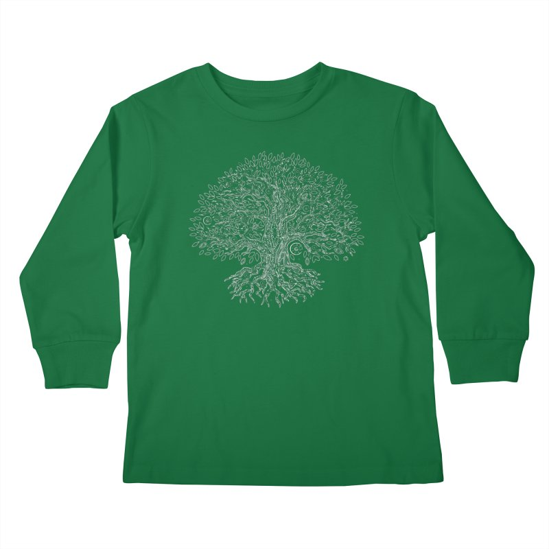 Halo Tree (White) Kids Longsleeve T-Shirt by Pantheon Steel Fan-Art Store