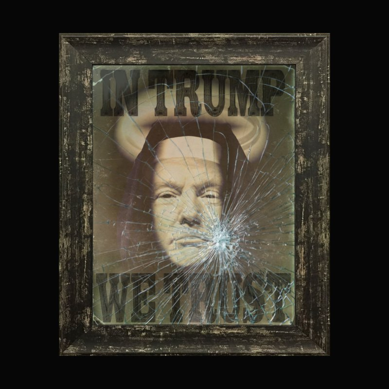 'In Trump we Trust' cracked poster by Paparaw's T-Shirt Design