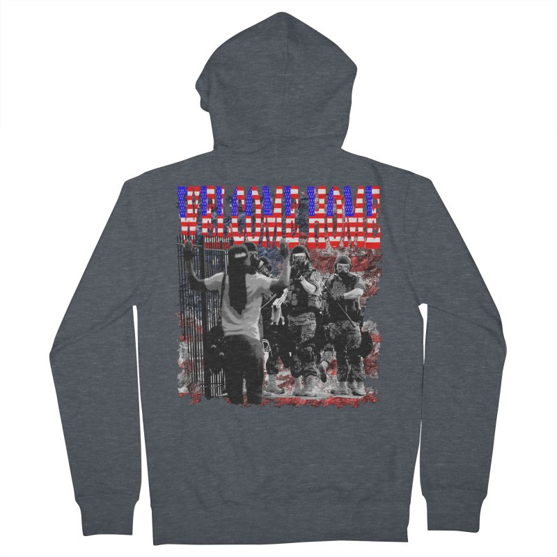 Welcome Home USA Men's Zip-Up Hoody by Paparaw's T-Shirt Design