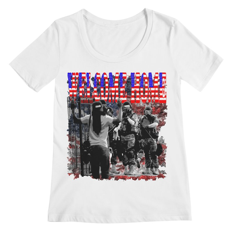 Welcome Home USA Women's Scoopneck by Paparaw's T-Shirt Design