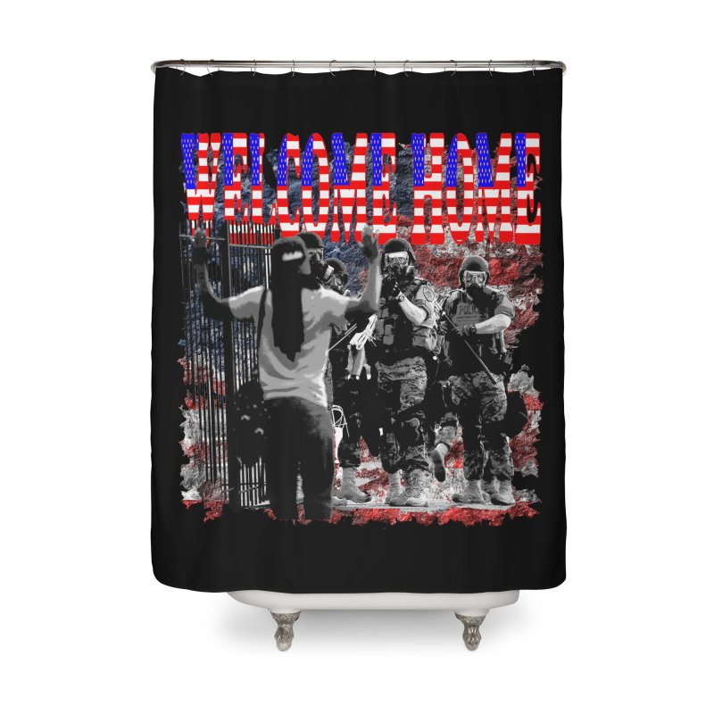 Welcome Home USA Home Shower Curtain by Paparaw's T-Shirt Design