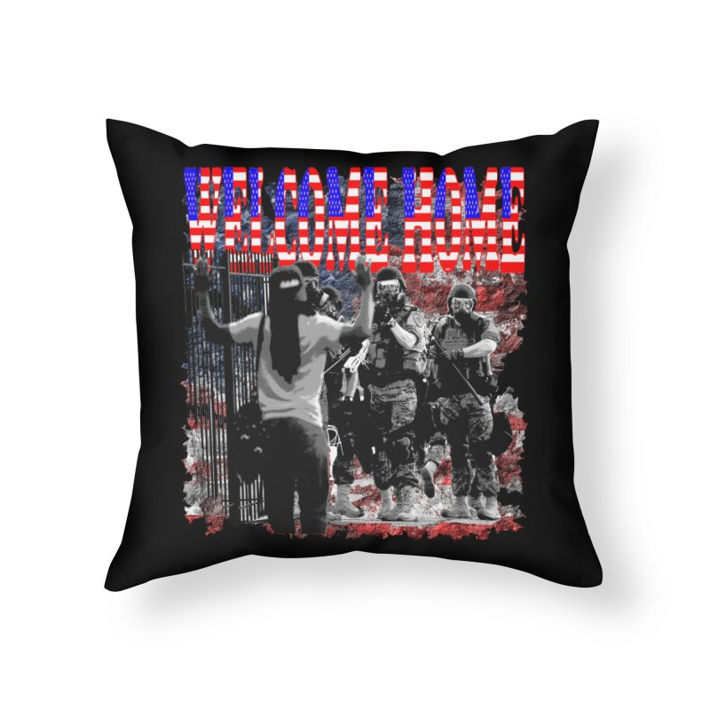 Welcome Home USA Home Throw Pillow by Paparaw's T-Shirt Design