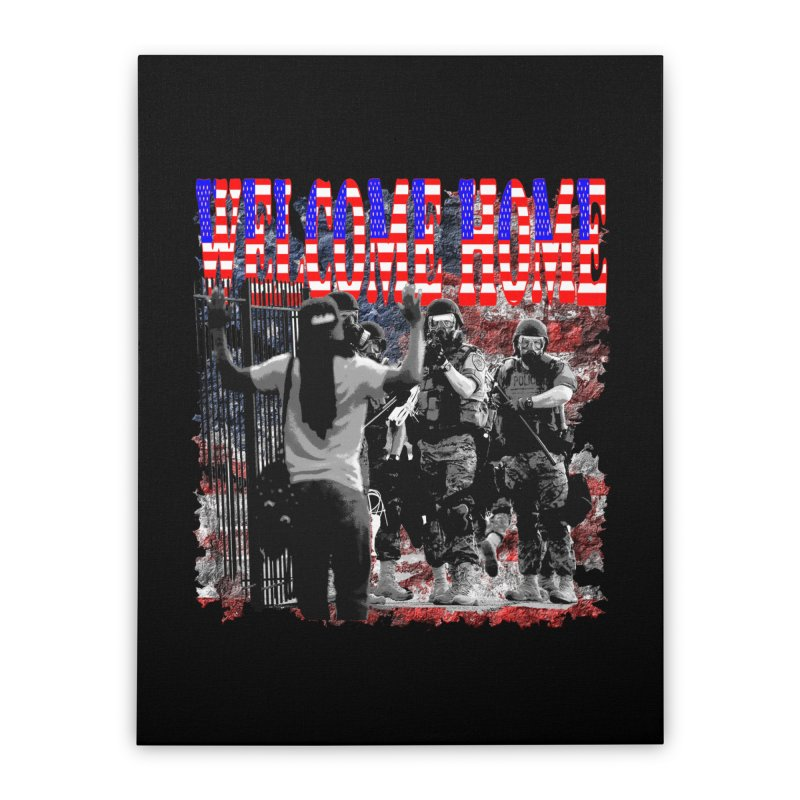 Welcome Home USA Home Stretched Canvas by Paparaw's T-Shirt Design