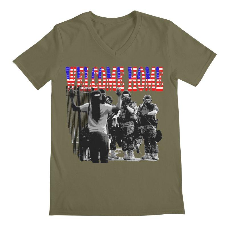 Welcome Home USA 2 Men's V-Neck by Paparaw's T-Shirt Design
