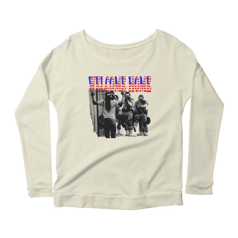 Welcome Home USA 2 Women's Longsleeve Scoopneck  by Paparaw's T-Shirt Design