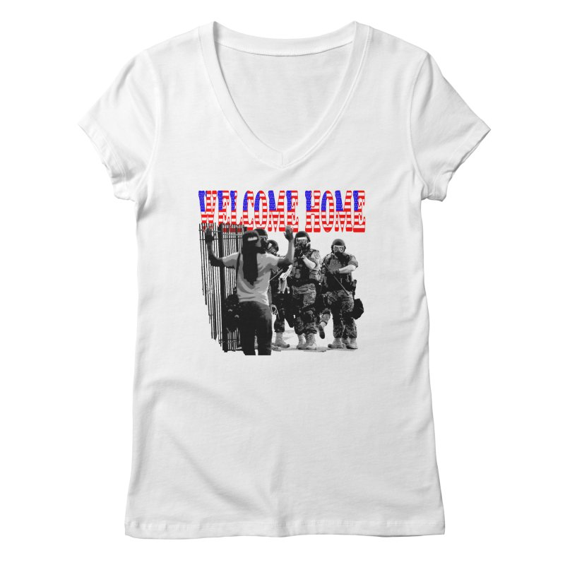 Welcome Home USA 2 Women's V-Neck by Paparaw's T-Shirt Design