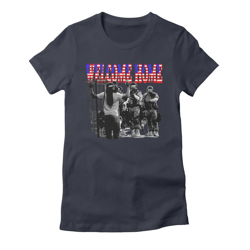 Welcome Home USA 2 Women's Fitted T-Shirt by Paparaw's T-Shirt Design