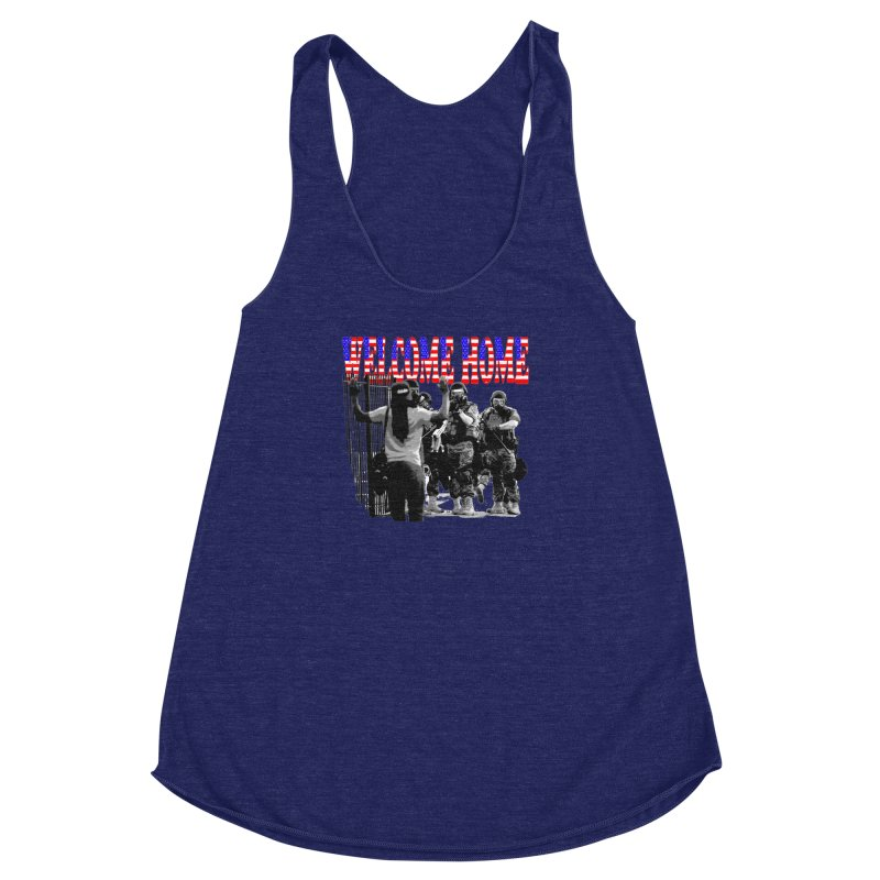 Welcome Home USA 2 Women's Racerback Triblend Tank by Paparaw's T-Shirt Design