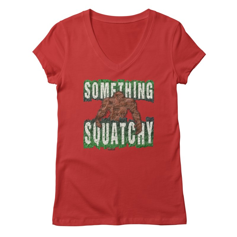 SOMETHING SQUATCHY Women's V-Neck by Paparaw's T-Shirt Design